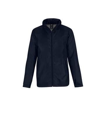 B&C Mens Multi Active Hooded Fleece Lined Jacket (Navy/ Warm Grey) - UTRW4830