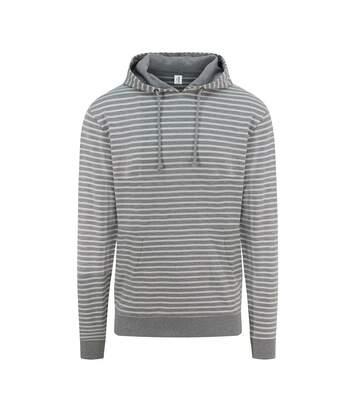 Sweat à capuche mixte - JH018 - gris rayé