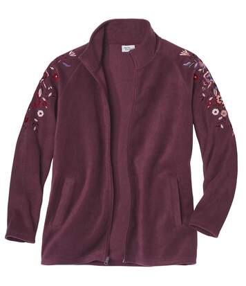 Women's Burgundy Embroidered Polar Fleece Jacket