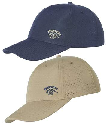 Pack of 2 Men's Baseball Caps - Navy Beige