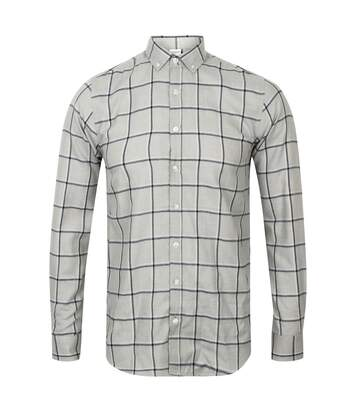Skinni Fit Mens Brushed Check Casual Long Sleeve Shirt (Light Grey Check) - UTRW5497