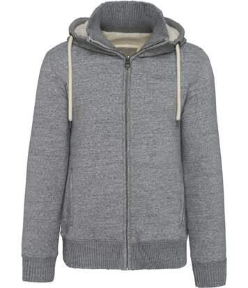 Veste molleton doublée sherpa - homme - KV2312 - gris clair - avec capuche