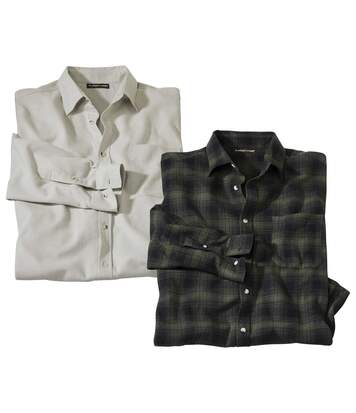 Pack of 2 Men's Inverness Flannel Shirts - Beige Khaki