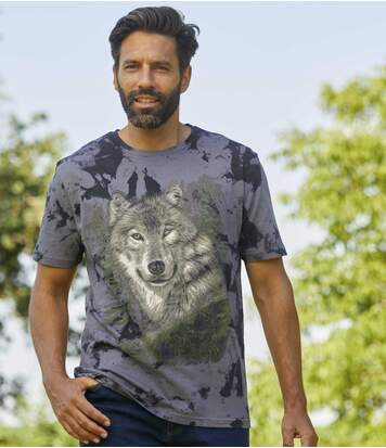 Men's Wolf Print Tie-Dye T-Shirt - Anthracite