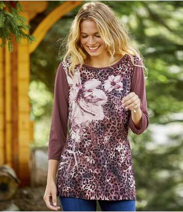 Women's Floral Leopard Print Top - Pink