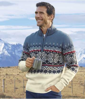 Troyer-Pullover Anden mit Jacquard-Muster