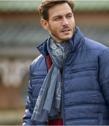Men's Blue Patterned Scarf