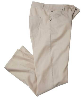 Men's Beige Stretch Trousers - Cotton/Linen