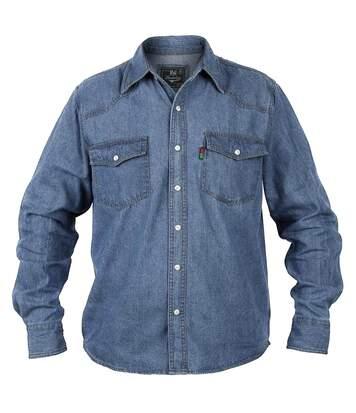 Duke Mens Western Denim Button Down Shirt (Stonewash) - UTDC101