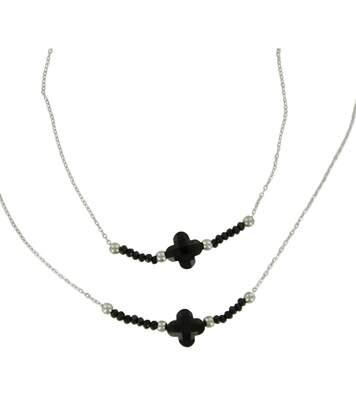 Parure Femme Bracelet Collier Pendentif Trêfle Perles Noires