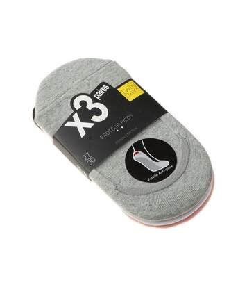 Chaussette Protège-pieds - Lot de 3 - Anti-glisse intérieur - Sans bouclette - Fine - Coton - Multicolore