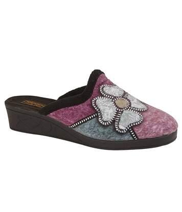 Sleepers Womens/Ladies Kimberly Flower Trim Mule Slippers (Black/Purple/Blue/Silver) - UTDF1430