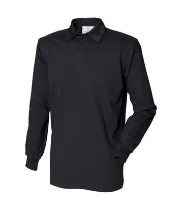 Front Row - Polo De Rugby À Manches Longues 100% Coton - Homme (Noir/Noir) - UTRW478