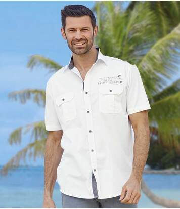 Men's White Aviator Shirt - Pacific Ocean