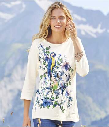 Women's Parrot Print Top - Ecru