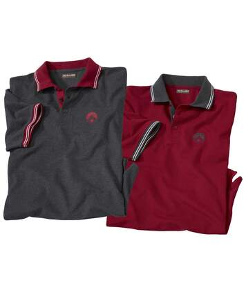 Pack of 2 Men's Short Sleeve Polo Shirts - Burgundy White
