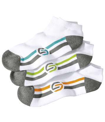 Pack of 3 Pairs of Men's Sporty Trainer Socks - White Grey