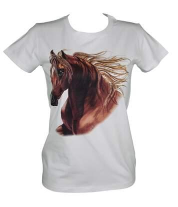 T-shirt femme manches courtes - cheval 11100 - blanc