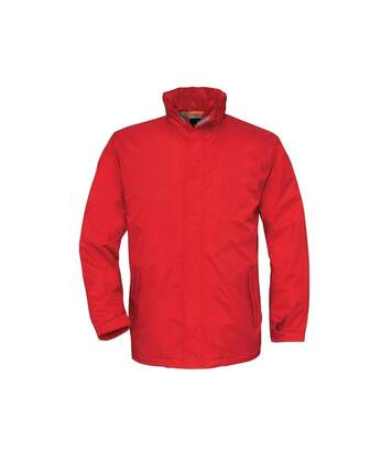 B&C Mens Ocean Shore Waterproof Hooded Fleece Lined Jacket (Red) - UTRW3518