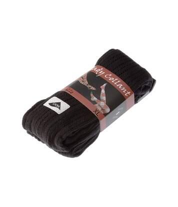 Collant chaud - 1 paire - A trous - Ultra opaque - Mat - Gousset polyamide - Coton - Effet de maille - Noir