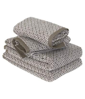 Parure de bain 4 pièces SHIBORI mosaic Beige 100% coton 500 g/m2