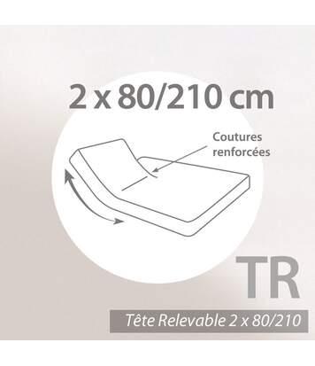 Protège matelas imperméable 2x80x210 ANTONY Spécial lit articulé TR Molleton enduction acrylique