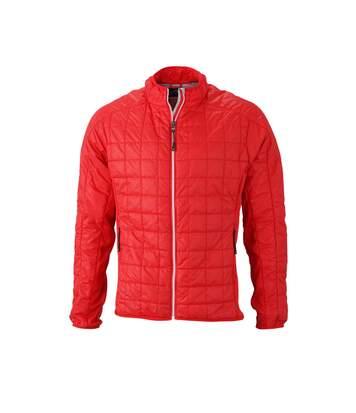 Veste hybride molletonnée - JN1116 - rouge - Doudoune Homme