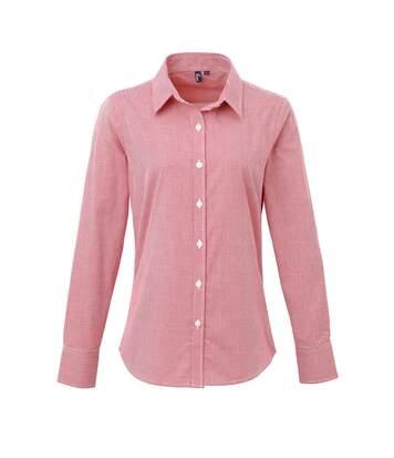 Premier Womens/Ladies Microcheck Long Sleeve Shirt (Red/White) - UTRW5523