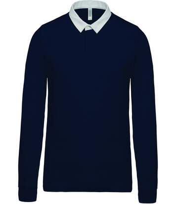Polo homme rugby - manches longues - K213 - bleu marine - col contrasté