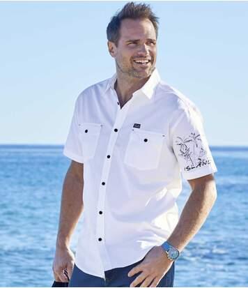 Men's White Short-Sleeved Shirt