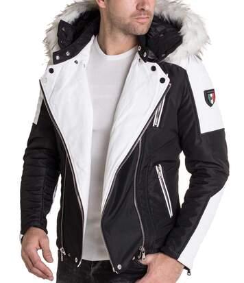 Veste blouson multi-zippes noir blanc à capuche fausse fourrure