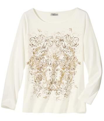 Tee-Shirt Manches Longues Femme Blanc imprimé Arabesques