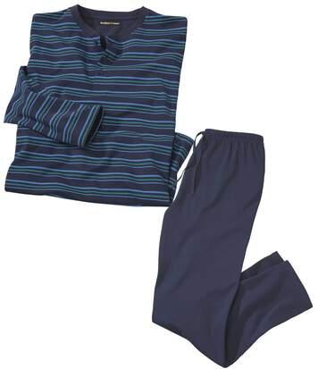 Men's Navy Striped Pyjamas