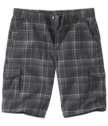 Men's Black Checked Cargo Shorts