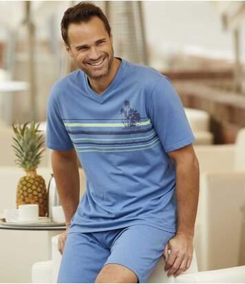 Men's Blue Palm Beach Short Pyjamas
