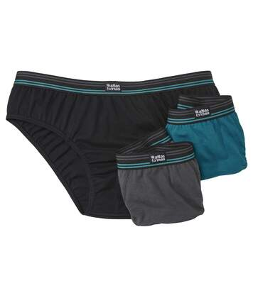 Pack of 3 Men's Plain Comfort Briefs - Blue Grey Black
