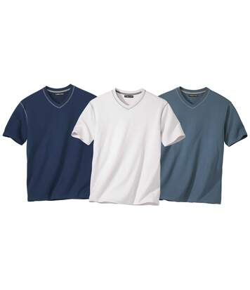 Pack of 3 Men's V-Neck T-Shirts - Navy Indigo Off-White