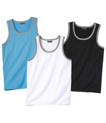 Pack of 3 Men's Sports Vests - Turquoise White Black