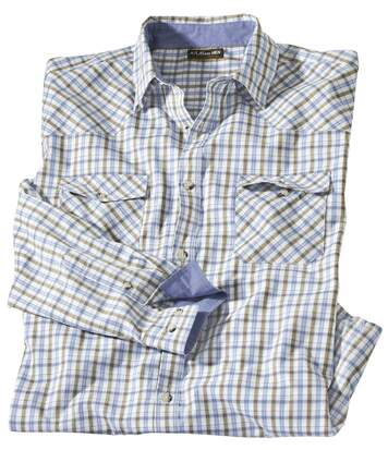 Men's Montana Checked Poplin Shirt - Blue White Khaki