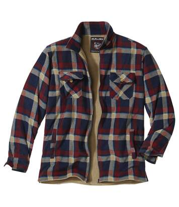 Men's Checked Fleece Overshirt - Navy Beige Red