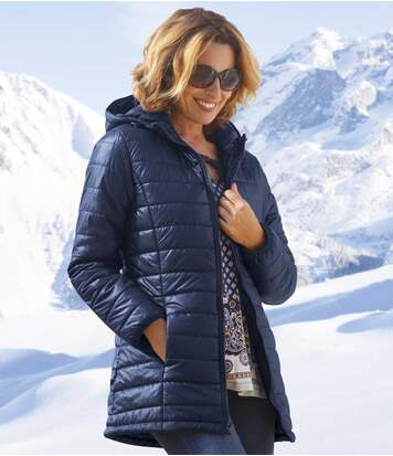 Women's Navy Blue Puffer Coat with Hood