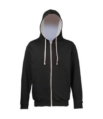 Sweat zippé à capuche unisexe - JH053 - noir et gris clair