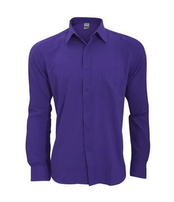 Henbury Mens Wicking Long Sleeve Work Shirt (Purple) - UTRW2696