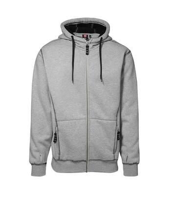 ID Mens Worker Full Zip Loose Fitting Sherpa Hoodie (Grey melange) - UTID342