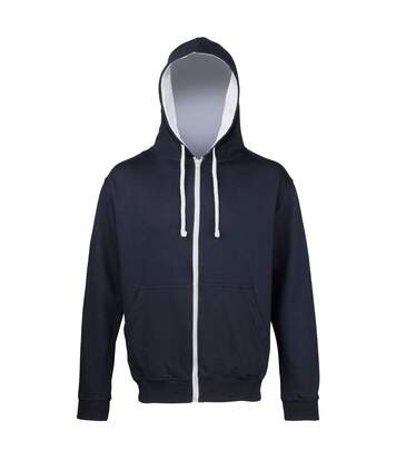 Sweat zippé à capuche unisexe - JH053 - bleu marine et gris chiné