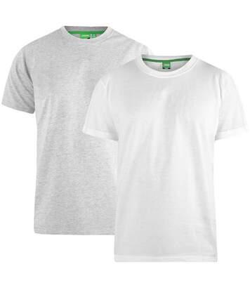Duke Mens Fenton Kingsize D555 Round Neck T-shirts (Pack Of 2) (Grey/White) - UTDC209