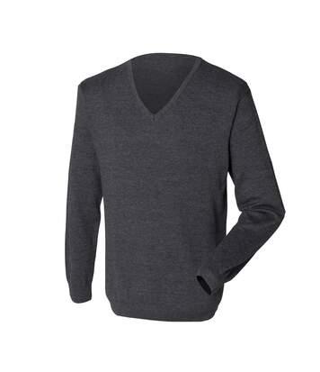 Henbury Mens 12 Gauge Fine Knit V-Neck Jumper / Sweatshirt (Grey Marl) - UTRW659
