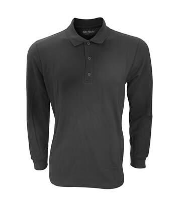 Gildan Mens Long Sleeve Premium Cotton Double Pique Polo Shirt (Black) - UTRW4740