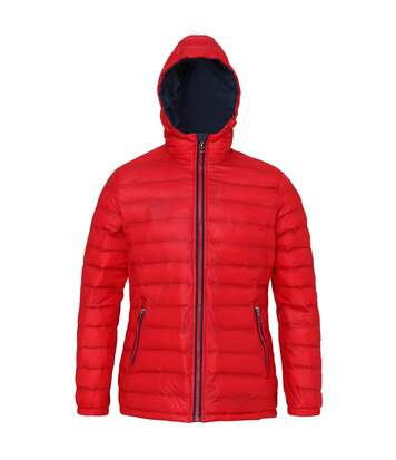 2786 Womens/Ladies Hooded Water & Wind Resistant Padded Jacket (Red/Navy) - UTRW3425