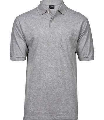 Polo homme poche poitrine - 2400 - gris chiné - manches courtes